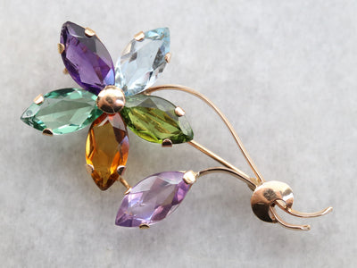 Gold Marquise Gemstone Flower Pin