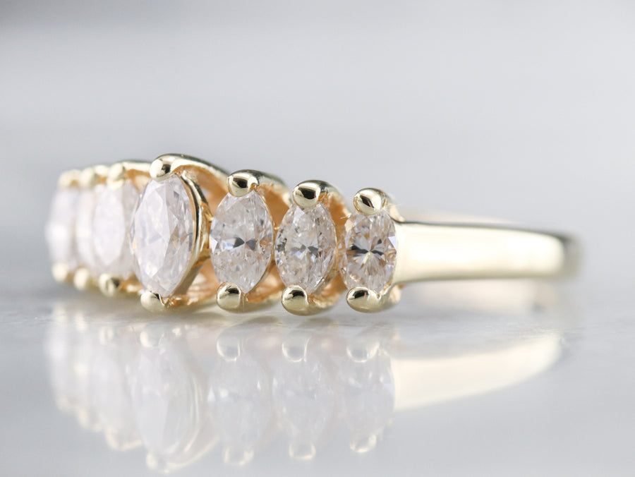 Yellow Gold Marquise Cut Diamond Band