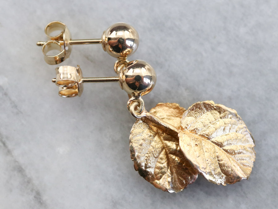 Yellow Gold Leaf Drop Earrings