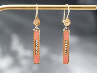 Pink Enamel and Seed Pearl Drop Earrings