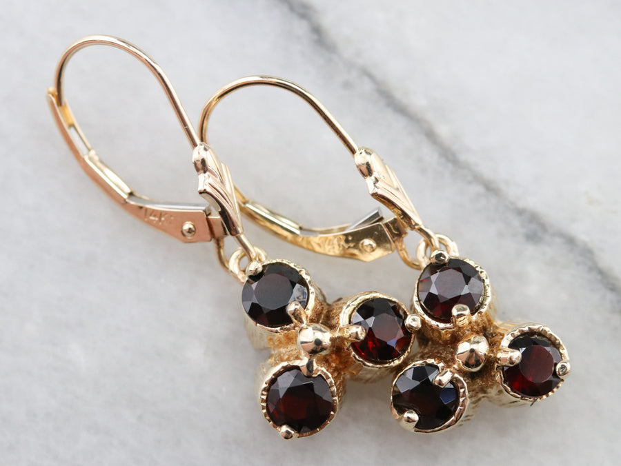 Floral Gold and Garnet Drop Earrings