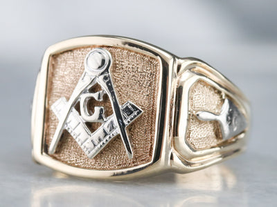 Men's Mixed Metal Masonic Ring