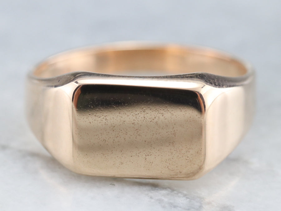 Vintage Plain Gold Signet Ring