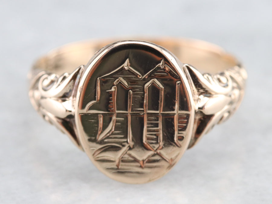 "Victorian ""M"" Monogrammed Signet Ring"