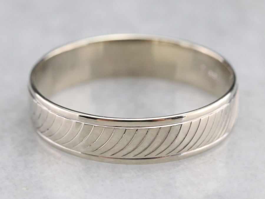 Men's White Gold Pattern Band