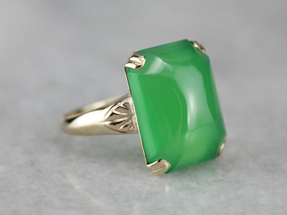 Vintage Green Onyx Gold Cocktail Ring