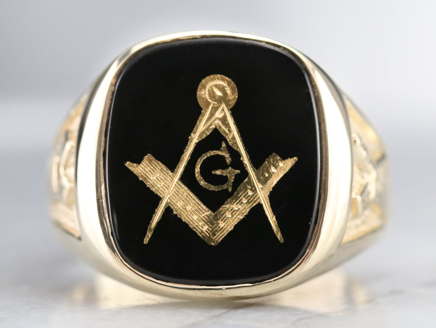 Black Onyx Men's Retro Era Masonic Ring