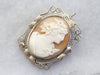 Art Deco Gold Filigree Cameo Brooch