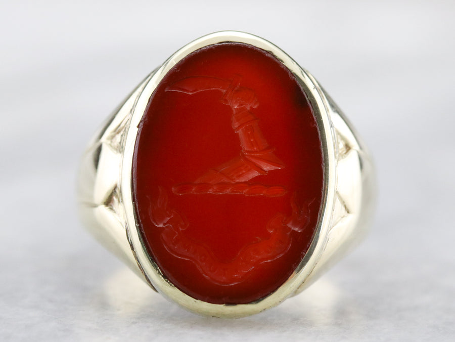 Sardonyx Scottish Clan Macrae Intaglio Ring