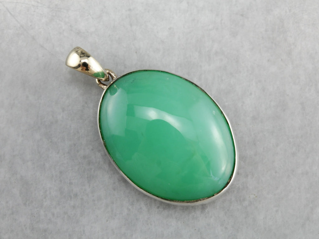 Chrysoprase Cabochon Mixed Metal Pendant