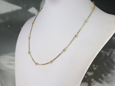 Beaded Gold Box Chain Necklace