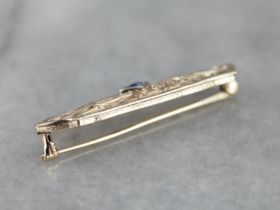 Art Deco Synthetic Sapphire Filigree Brooch