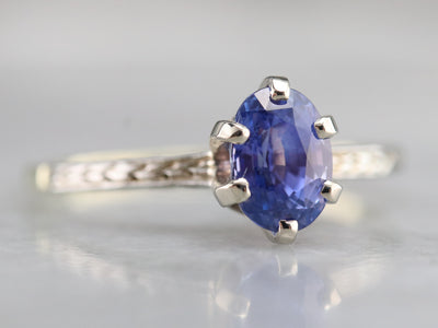 Etched Sapphire Solitaire Ring