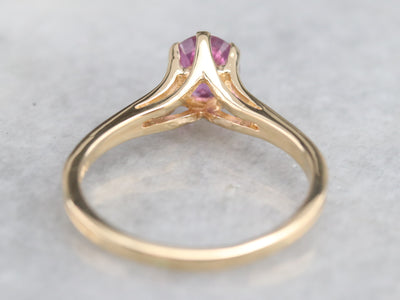 Pink Ceylon Sapphire Solitaire Ring