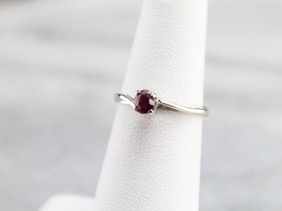 White Gold Ruby Solitaire Ring