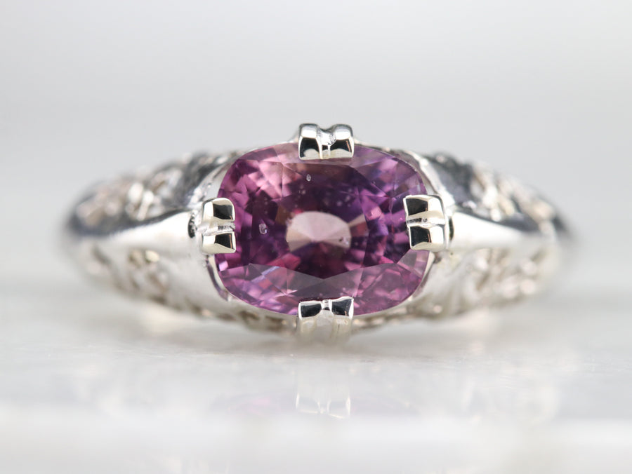 Art Deco Pink Ceylon Sapphire Solitaire Ring