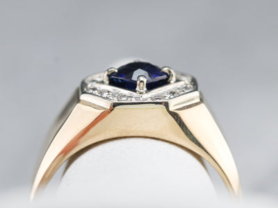 Men's Sapphire and Diamond Ring