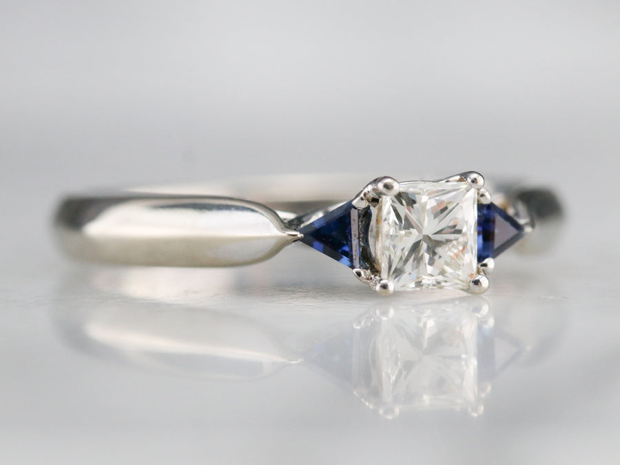White Gold Diamond and Sapphire Ring