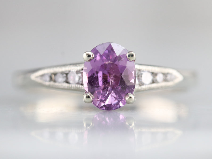 Retro Pink Sapphire and Diamond Ring