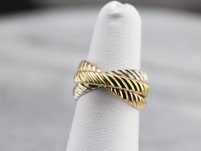 Tri Color Gold Rope Twist Rolling Ring