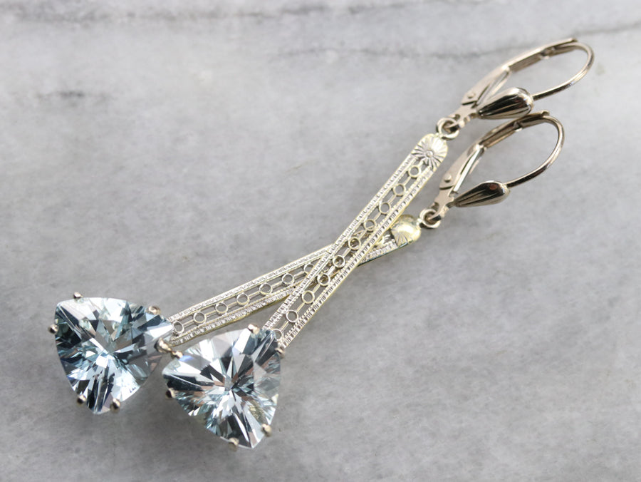 Aquamarine Trillion Cut Drop Earrings