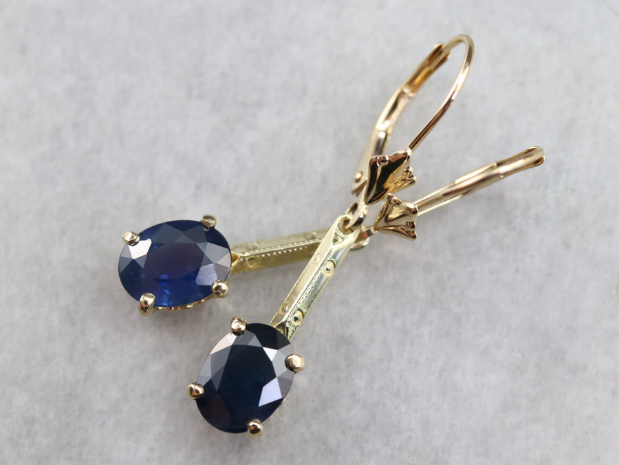 Sapphire and Gold Drop Earrings