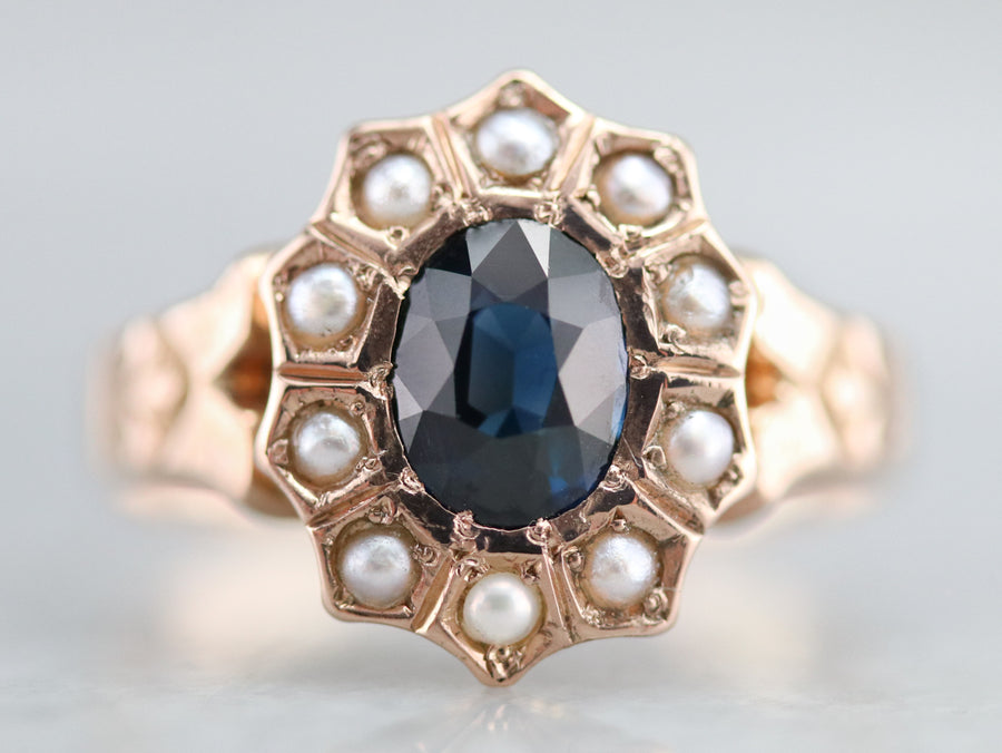 Victorian Sapphire and Seed Pearl Ring