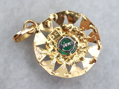 High 22K Gold and Emerald Pendant