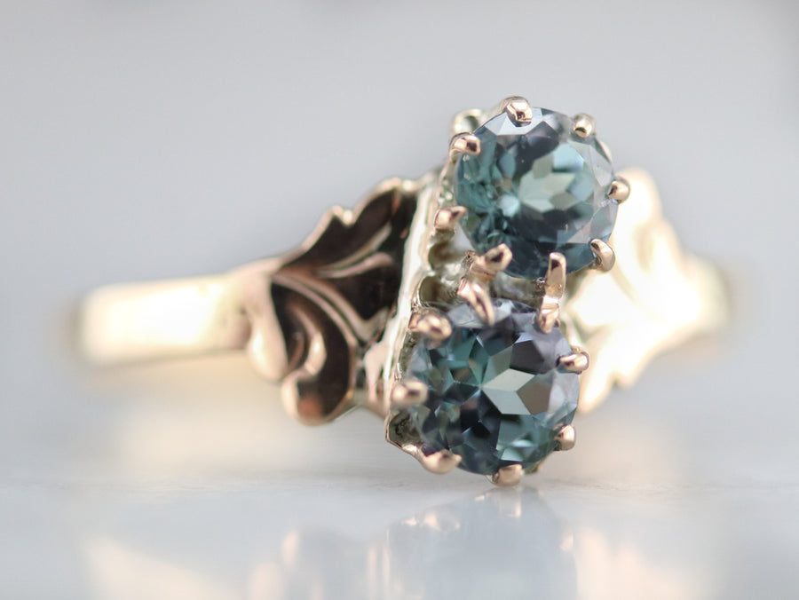 Victorian Aquamarine Bypass Ring
