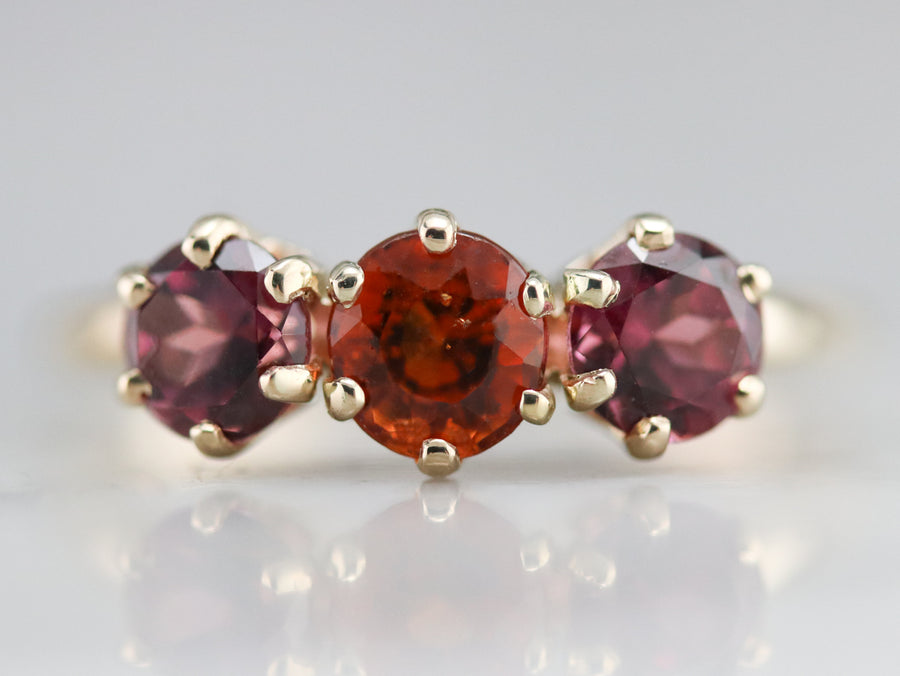 Hessonite Garnet and Pink Tourmaline Ring