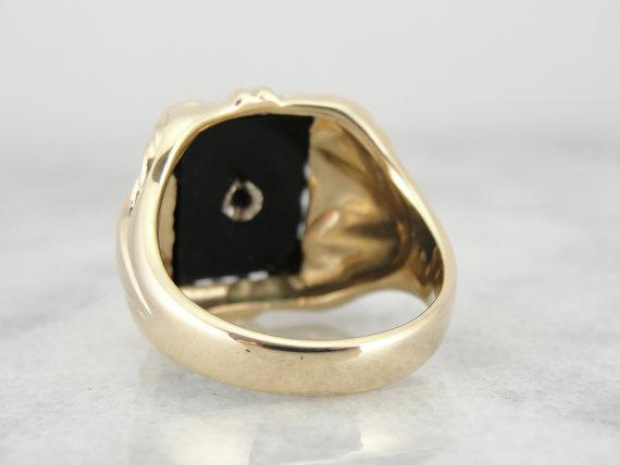 Classic 1950s Large Mens Onyx and Diamond Ring