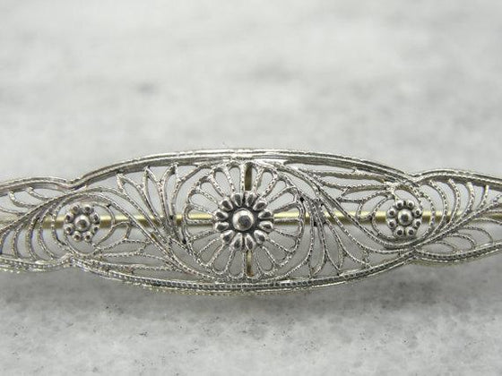 14 Karat Art Deco Filigree Bar Pin