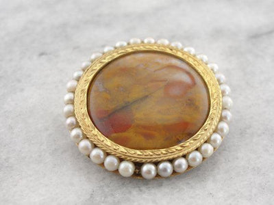 Green Gold, Jasper and Pearl Pendant or Brooch