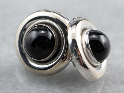 Minimalist Black Onyx White Gold Stud Earrings
