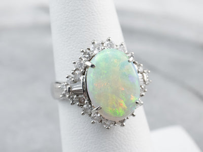 Opal Diamond Halo Platinum Statement Ring