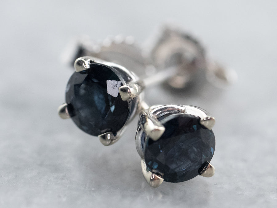 Round Sapphire White Gold Stud Earrings
