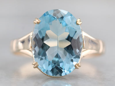 Vintage Blue Topaz Solitaire Ring