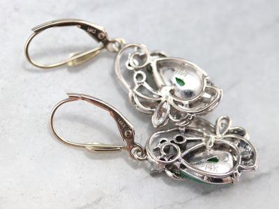 Retro Jadeite and Diamond Drop Earrings