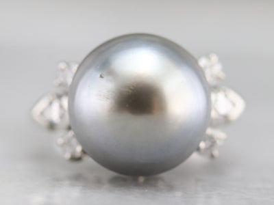 Vintage Grey Pearl and Diamond Ring