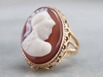 Mid Century Spartan Cameo Ring