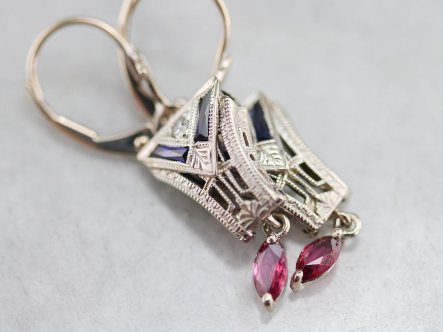 Ruby Sapphire and Diamond Drop Earrings
