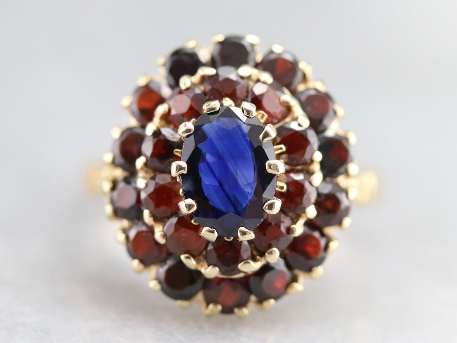 Sapphire and Garnet Cocktail Ring