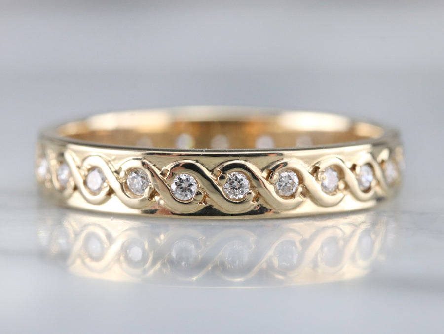 Scrolling Diamond Eternity Band