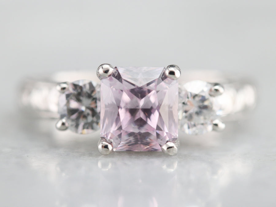 Engraved Pink Sapphire and Diamond Ring