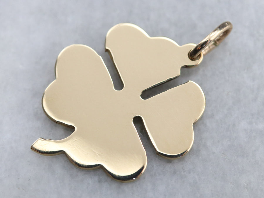 Good Luck Gold Shamrock Pendant