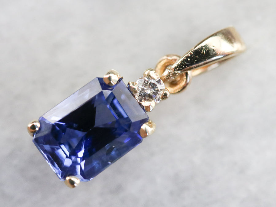 Gold Sapphire and Diamond Pendant