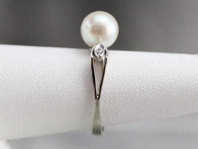 Retro Era Pearl and Diamond Ring
