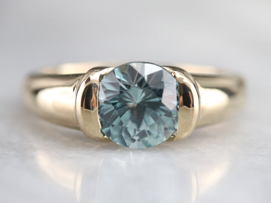 Gold Blue Zircon Statement Ring