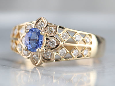 Sapphire and Diamond Flower Ring