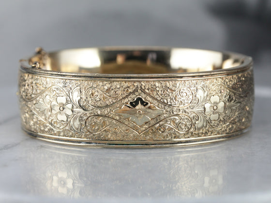 Antique Etched Floral Gold Fill Bangle